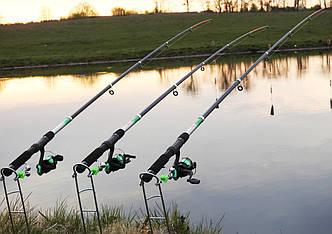 Спиннинги 2,7м с катушками в сборе рыболовный набор 3шт, катушки, леска, подставки, убийца карася ПОДАРОК