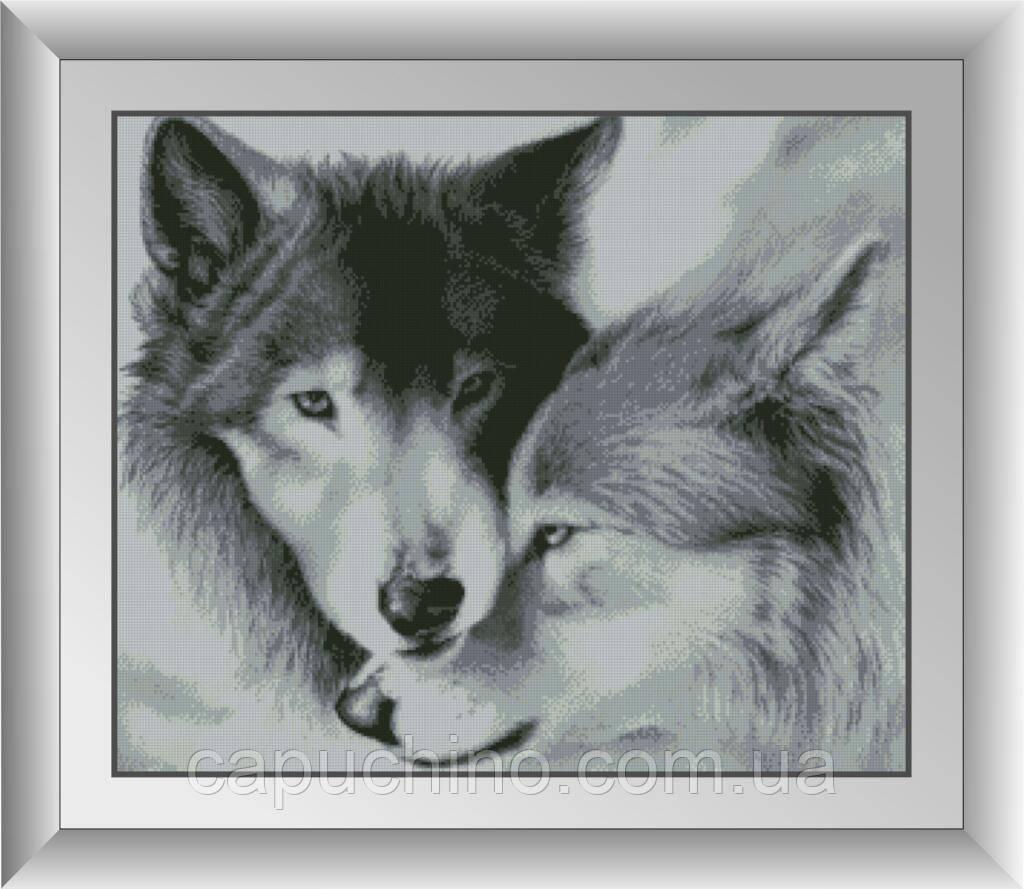 Алмазна мозаїка Влюбленне вовки Dream Art 30081 57x68,5см 11 кольорів, квадр.стрази, повна зашивання. Набір
