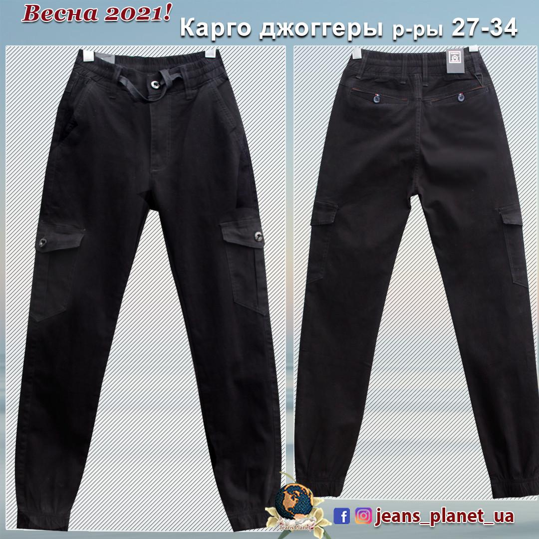 Джинсы мужские карго джоггеры Baron чёрного цвета