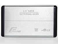 "Внешний карман Frime SATA HDD/SSD 2.5"", USB 2.0, Metal, Silver (FHE21.25U20), фото 1"