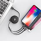 Кабель Hoco U50 combo 3 в 1 Micro USB+Lightning+Type-C 1м/2А. Зарядный кабель-рулетка 1 м универсальный, фото 2