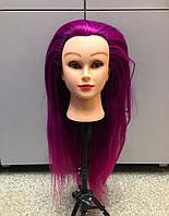 Голова учебная для причесок, плетения, моделирования искусственные термо волосы цветные, манекен парикмахера