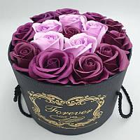 Подарочный набор мыла из роз в шляпной коробке Фиолетовый