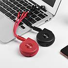 Кабель Hoco U50 combo 3 в 1 Micro USB+Lightning+Type-C 1м/2А. Зарядный кабель-рулетка 1 м универсальный, фото 9