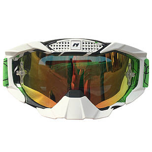 Очки кроссовые NENKI NK-1015 WHITE BORDER / GREEN HEADBAND