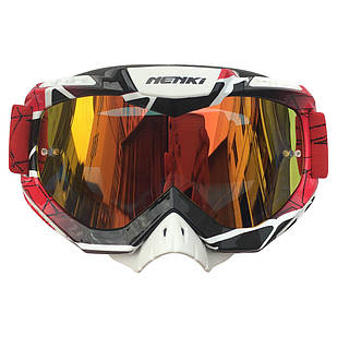 Очки кроссовые NK-1016 Red&Black Border/Red Headband