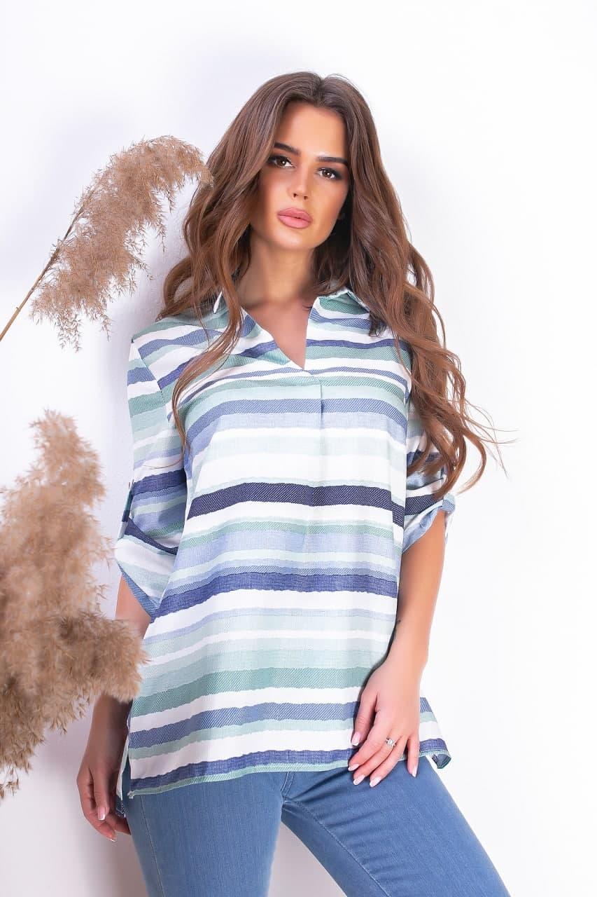 Повседневная полосатая рубашка женская (42-54)