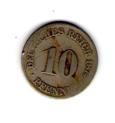 Германская империя 10 пфенингов 1874 год старый герб №242