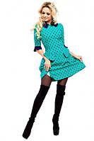Платье Рубашечный воротничёк бирюза из итальянской костюмки
