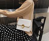 Женская сумочка кошелек маленькая квадратная через плечо Клатч Белая С-1