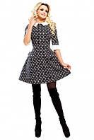 Платье Рубашечный воротничёк чёрное из итальянской костюмки