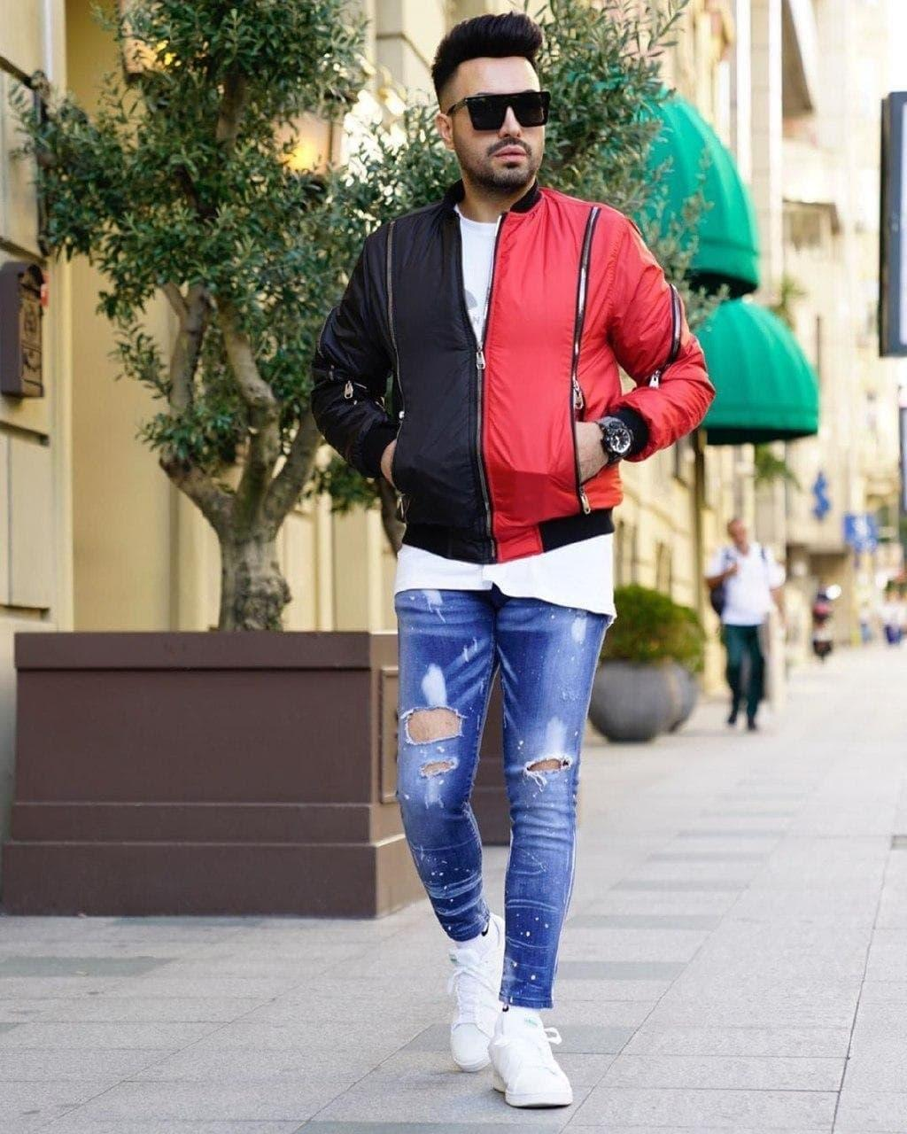 Мужская дизайнерская куртка бомбер M725 черно-красная