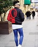 Мужская дизайнерская куртка бомбер M725 черно-красная, фото 6