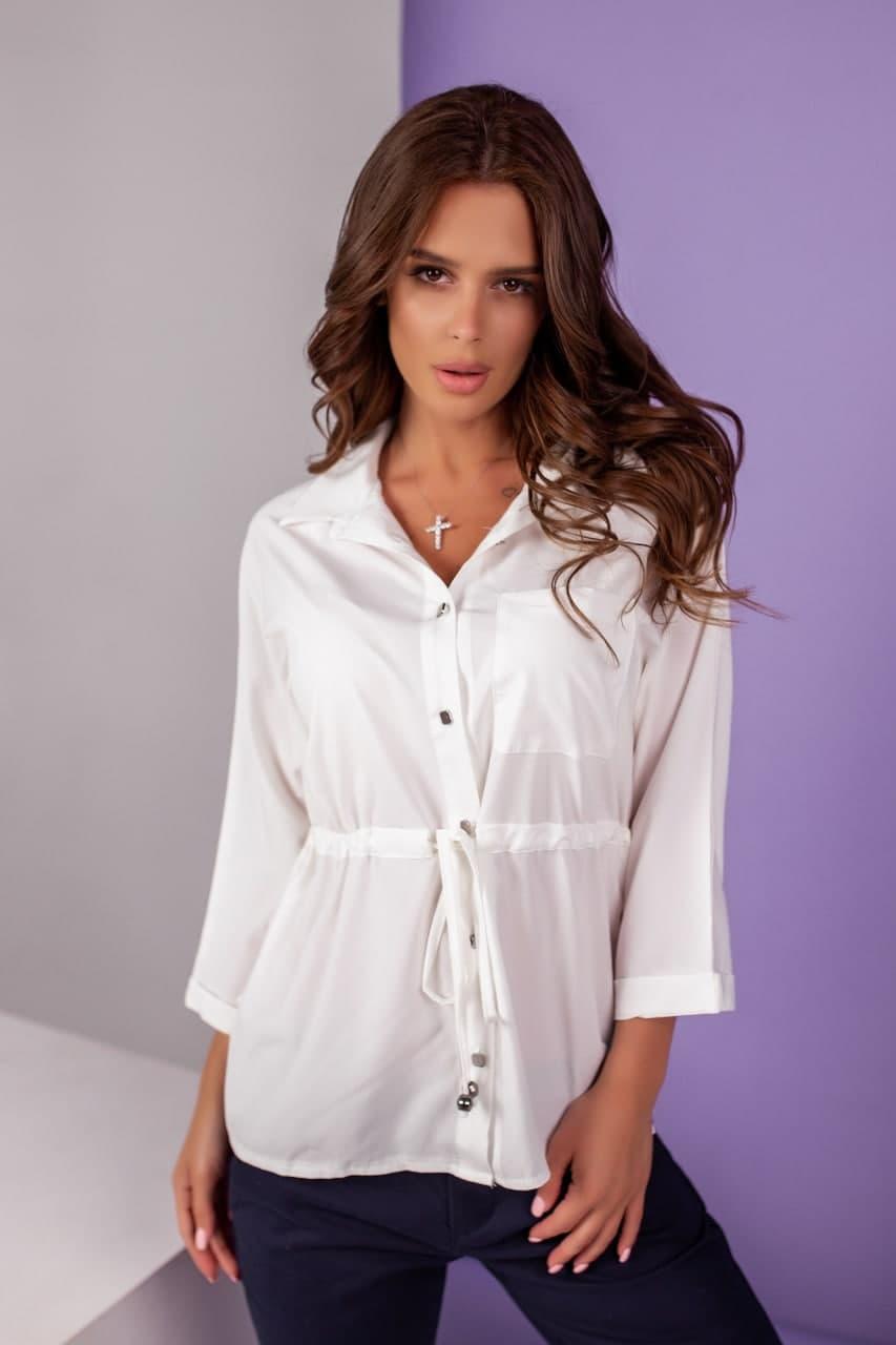 Біла жіноча сорочка приталеного крою 42-62