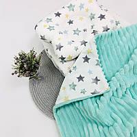 Прогулочный комплект в коляску кроватку плед подушка простынка мятный Lukoshkino ®  3 предмета (8235LUK-1)