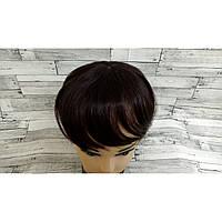 Накладка из натуральных волос коричневый с челкой имитация роста волос 20см