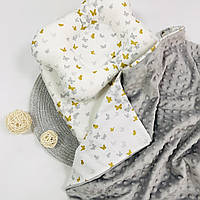 Прогулочный комплект в коляску кроватку плед подушка простынка серый Lukoshkino ®  3 предмета (8235LUK-2)