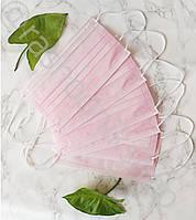 Маски медицинские розовые для лица, одноразовые, защитные, 50 штук в упаковке