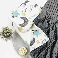 Прогулочный комплект в коляску кроватку плед подушка простынка серый Lukoshkino ®  3 предмета (8235LUK-3)