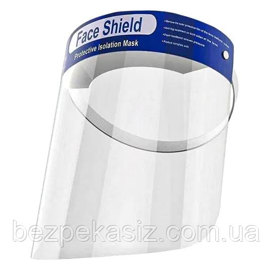 Защитный экран щиток для лица прозрачный пластик 33х22 см
