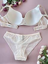 85C Милейший наборчик красивого женского нижнего белья бежевого цвета, бюстик на косточках, слип трусишки, фото 3