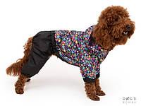 Дождевик комбинезон с сердечками для собак мелких, средних и крупных парод. Одежда для собак Люкс качаство