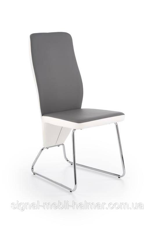 Стул K299 заднее кресло - белое, перед - серое, каркас - хром (Halmar)