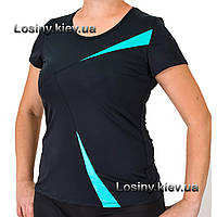 Женская спортивная футболка больших размеров, женские футболки баталы, футболка для зала Valeri 4029 бирюза