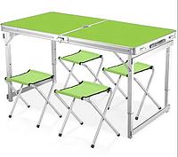 Стол для пикника с 4 стульями Folding Table (раскладной чемодан) Зеленый УСИЛЕННЫЙ