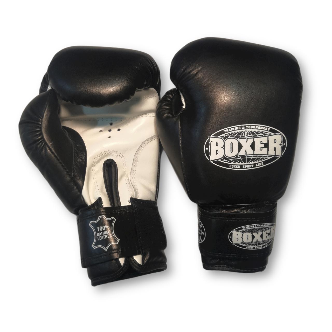 Боксерские перчатки 10 oz кожа, черные BOXER