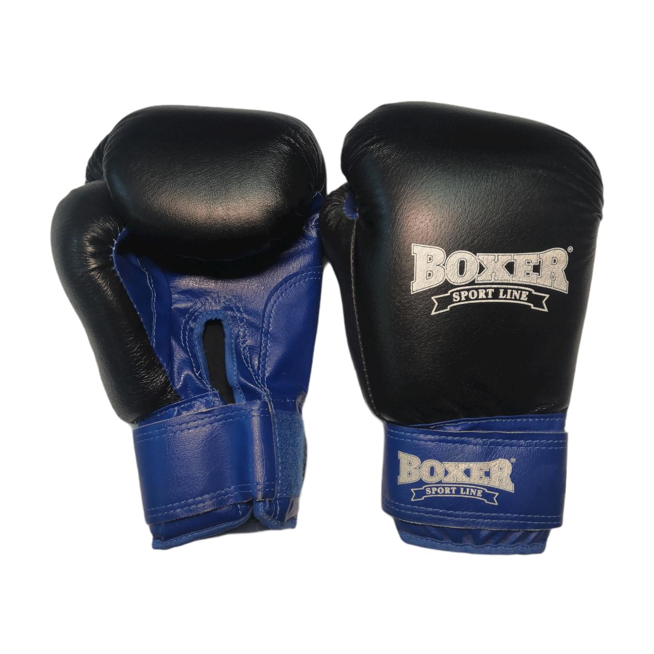 Боксерські рукавички 10 оz комбіновані, чорні BOXER