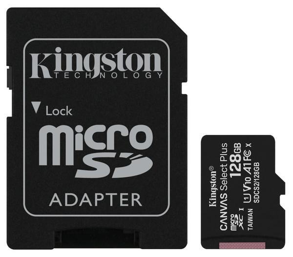 Карта памяти Kingston microSDHC 128GB Canvas Select+ A1 (W100/W85) + SD адаптер