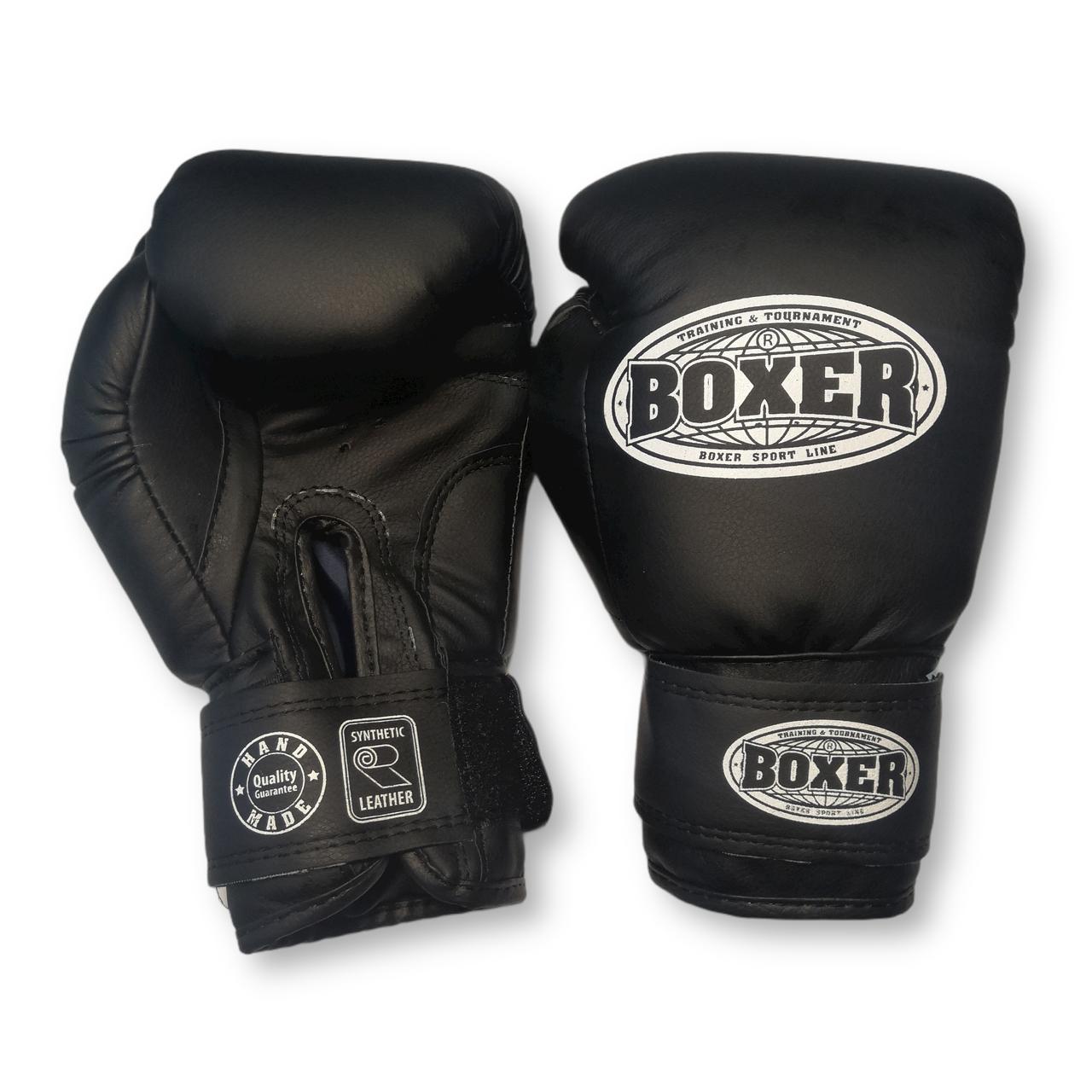 Боксерские перчатки 10 оz кожвинил, черные BOXER