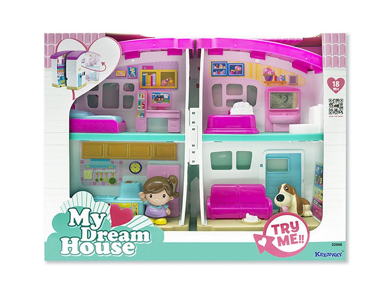 Игровой набор Кукольный домик с мебелью и фигурками девочки и собачки Keenway