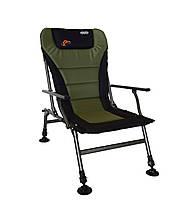 Кресло карповое раскладное регулируемое с спинкой и подлокотниками Чорно-зеленое Novator