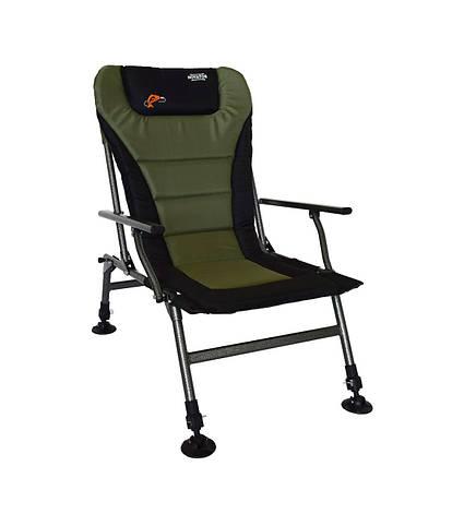 Кресло карповое раскладное регулируемое с спинкой и подлокотниками Чорно-зеленое Novator, фото 2