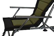Кресло карповое раскладное регулируемое с спинкой и подлокотниками Чорно-зеленое Novator, фото 3