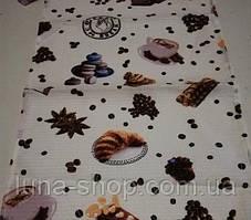 Кухонное вафельное полотенце, Кофе с круассаном,  35х70, хлопок