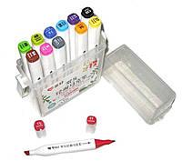 """Набор скетч маркеров 12 цветов PM508-12 """"Aihao Sketch Marker"""" двухсторонних толстых 15,5см d15мм"""