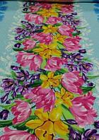 Кухонное вафельное полотенце, Яркие цветы,  35х70, хлопок