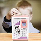 Електронна скарбничка з кодовим замком і купюропріємником для дітей. Скарбничка робот, фото 6