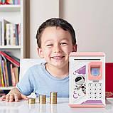Електронна скарбничка з кодовим замком і купюропріємником для дітей. Скарбничка робот, фото 7