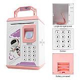 Електронна скарбничка з кодовим замком і купюропріємником для дітей. Скарбничка робот, фото 2