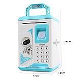Електронна скарбничка з кодовим замком і купюропріємником для дітей. Скарбничка робот, фото 9
