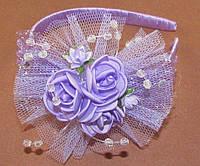Нарядный обруч для волос с розами сиреневый