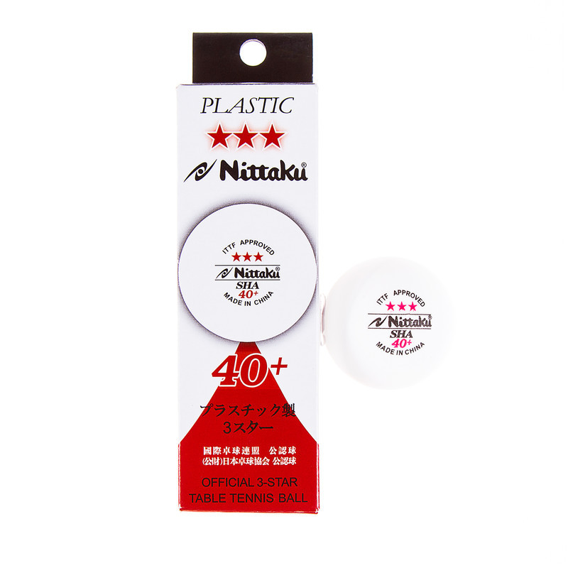 Набор мячей - шариков для настольного тенниса 3 штуки NITTAKU NB-1400 3star (пластик, d-40мм, белый)