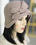 Фетровий капелюшок із складками і бантом, фото 2