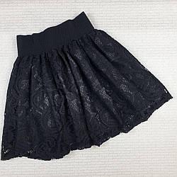 Юбка гипюровая на девочку 128, 134, 146 см, черный