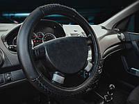 "5шт Оплетка на руль кожа ""M"" AL Khateeb SE 3238 BK черная + 1шт Тряпка для автомобиля 64x43 Winso в"