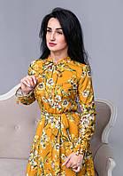 Женское платье с длинными рукавами длиной миди с цветочным принтом и съемным поясом горчичного цвета
